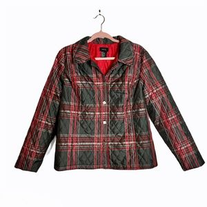 Quilted plaid lightweight jacket RQT black red